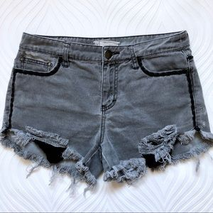 Free People Gray Distressed Denim Shorts